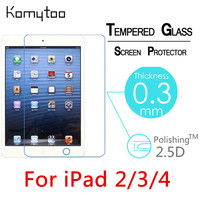 100pcs DHL Toughened Screen Protect Tempered Glass For Apple iPad 2/3/4 9.7