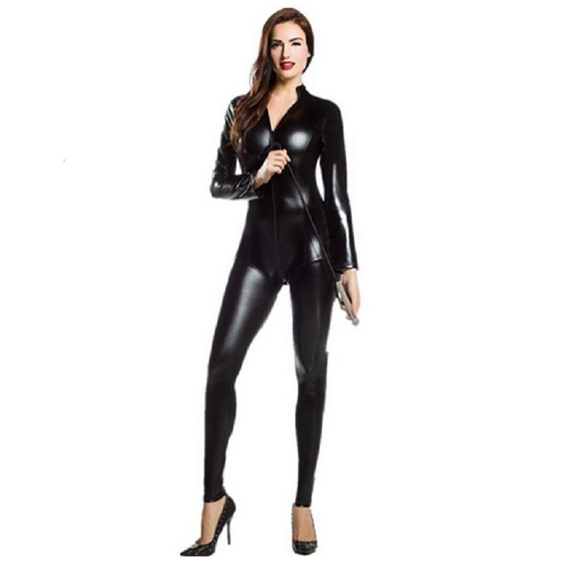 Metallic Full Body Unitard <font><b>Catsuit</b></font> Tight <font><b>Sexy</b></font> Club <font><b>Lycra</b></font> Zentai Bodysuit Long Sleeves Front Zipper Adult Kids Halloween Girl image