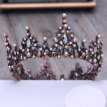 Vintage Baroque Black Queen King Wedding Round tiaras Bride Big Crown For Women Pageant Prom Luxury Crystal hair accessories  недорого