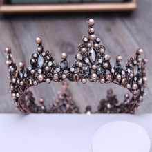 Vintage Crystal Black Round Baroque Tiaras and Crowns Headdress For Women or Men Bridal wedding Head Jewelry Accessories(China)