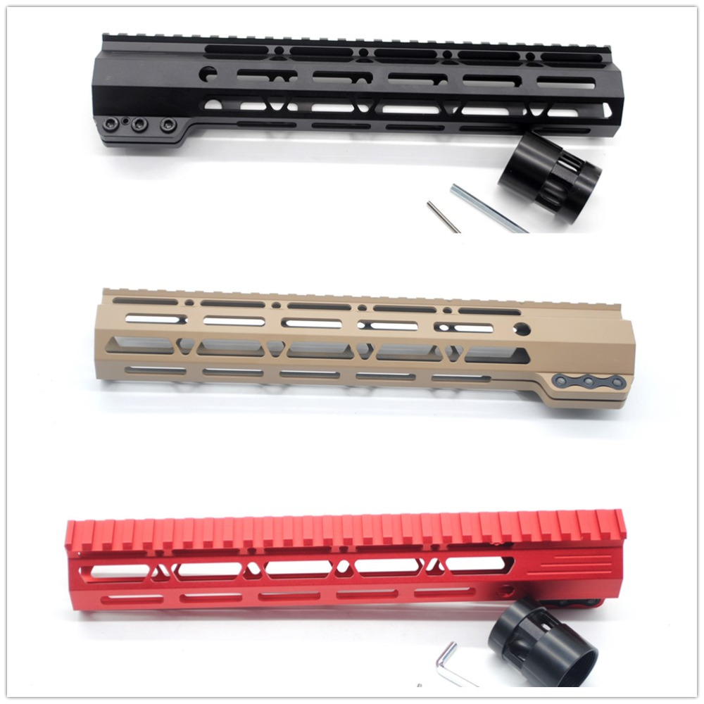Tactical AR15 Black/ Tan/ Red Clamping Style 11'' Inch M-lok Rifle Handguard Rail For Hunting