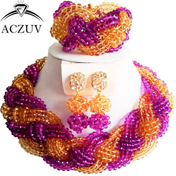 ACZUV Purple and Champagne Gold Crystal African Beads Jewelry Set for Nigerian Wedding A12R022