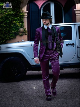 New Brand 2017 Groom Men Suit Purple Tuxedos For Men Shawl Lapel Custom Made Wedding Party Suits Groomsmen Costume Homme Mariage