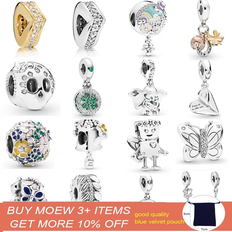925 Sterling Silver Multi color Flower Enamel Zircon Fit Original Pandora Charm Bracelet silver 925 Women Jewelry Making in Beads from Jewelry Accessories