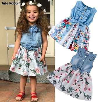 AiLe Rabbit 2019 INS automne filles robes Floral Denim manches longues robe fleurs ceinture mode manches volantes enfant robe enfants
