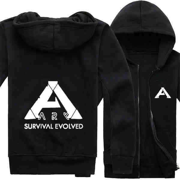 2017 Game ARK: Survival Evolved Logo Hoodie Cotton Zip Up Mens Casual Sweatshirt Coat Printing Pattern