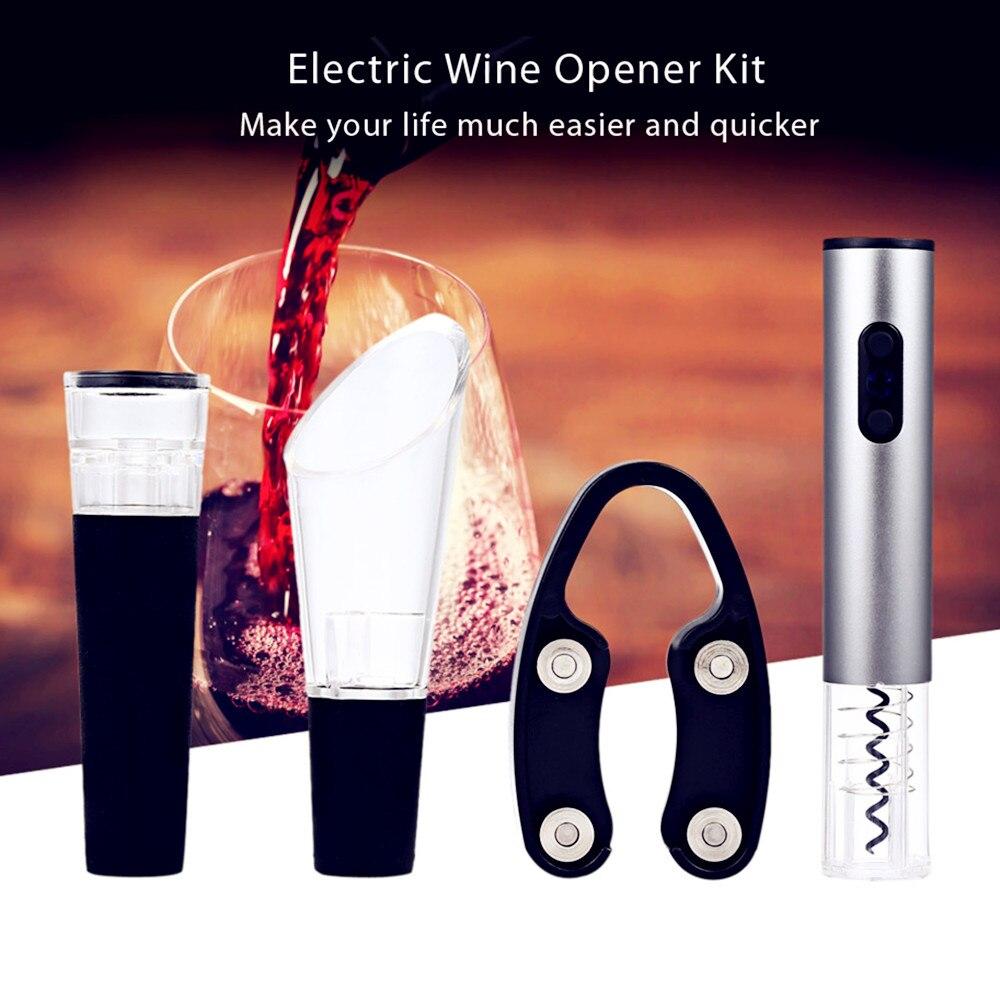 4 teile/los Elektrische Korkenzieher Edelstahl Cordless Korkenzieher mit Folie Cutter Vakuum Stopper Leicht Gießen Wein Set XJ