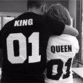 2016 Горячей Продажи Королева 01 Король 01 Т Рубашка Хлопка 20 цвет Пара День святого валентина Подруга Друга Его Подарок высокое качество