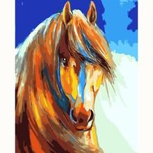 Лошадь бегущий животное DIY картина цифры картина по номеру цифровая картинка-раскраска вручную уникальный подарок Декор картина для дома