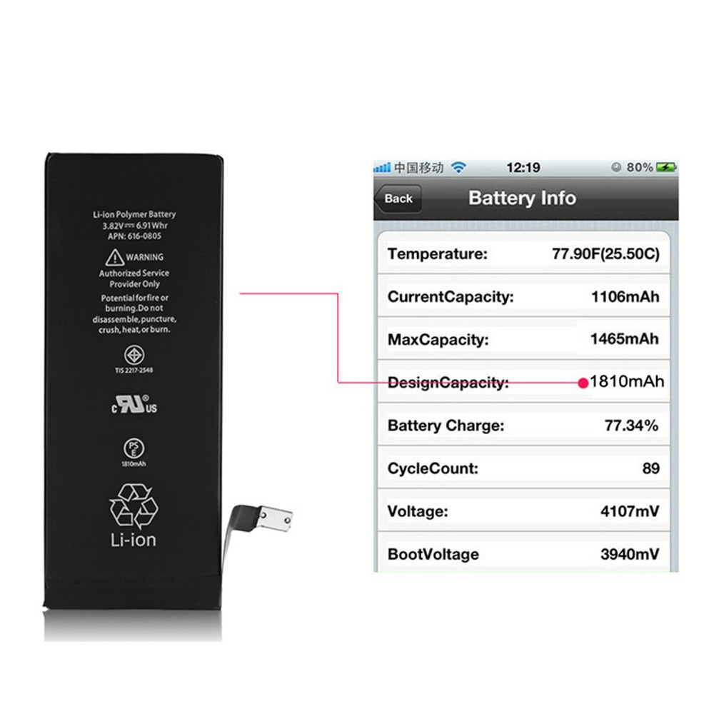 <font><b>OEM</b></font> <font><b>Battery</b></font> for Apple <font><b>iPhone</b></font> 6 Replacement Brand New Real Capacity 1810mAh <font><b>Batteries</b></font> for <font><b>iPhone</b></font> 6 <font><b>Battery</b></font> with Tools image
