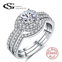 GS Authentic 925 Sterling Sliver Jewelry CZ Diamond Rings Sets 3 Pcs For Women Anel Charm
