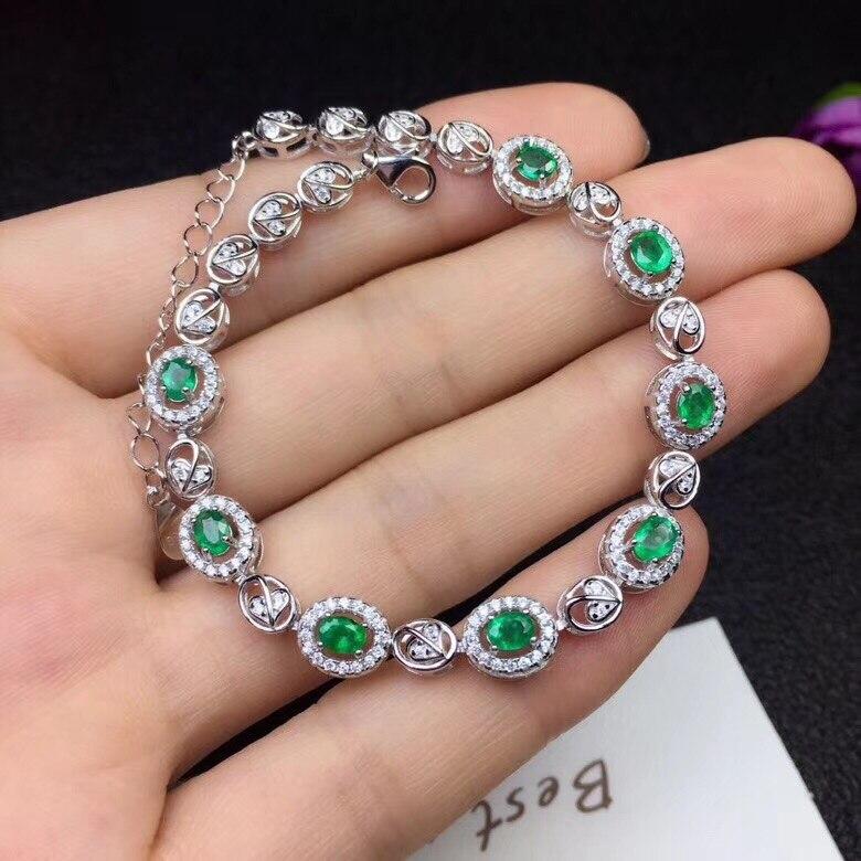 Classic design natural emerald bracelet crystal good color beautiful 925 Silver Handmade beautiful goddessClassic design natural emerald bracelet crystal good color beautiful 925 Silver Handmade beautiful goddess