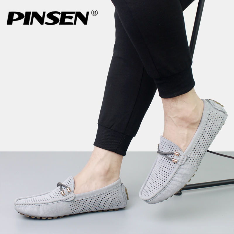 PINSEN Summer Genuine Leather Casual Men Shoes Soft Breathable Driving Shoes Men Flats Loafers Brand Leather Shoes Moccasins genuine leather shoes men top quality driving flats shoes soft leather men shoes loafers moccasins breathable zapatos hombre