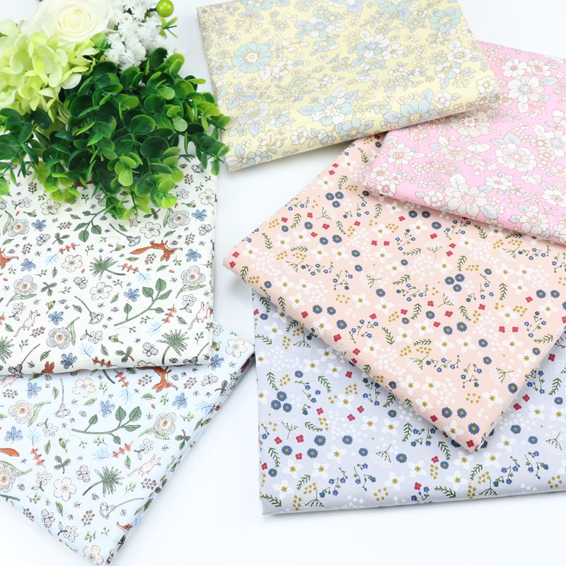 Buulqo Printed Floral cotton Twill Fabric Baby 100% Cotton Cloth handmade DIY doll clothing fabric