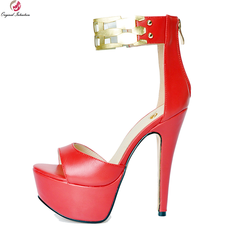 Original Intention Fashion Women Sandals Beautiful Open Toe Thin High Heels Sandals Nice Black Red Shoes