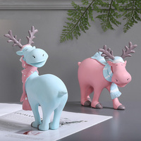 Very cute little elk Christmas ornaments Personality Christmas Gift Cartoon deer Figurine Home Decoration
