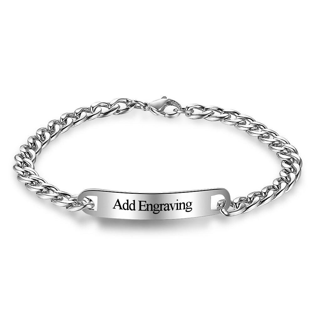 Custom Charm Bracelets Engrave Name Bracelets & Bangles Personalized  Jewelry Diy Gift For Women Men(