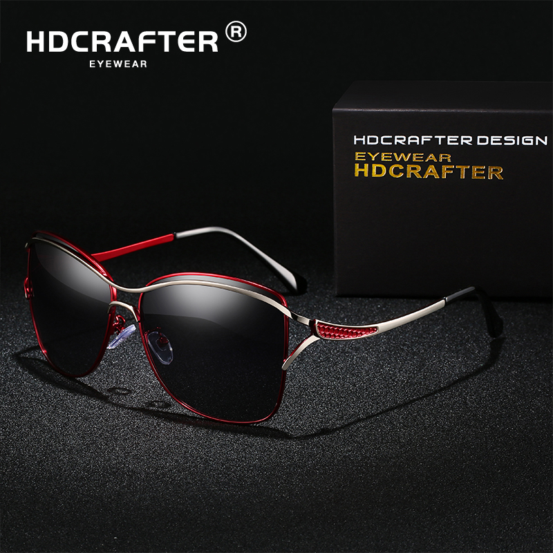 HDCRAFTER Sunglasses Women Polarized Elegant  Ladies Sun Glasses Female Larged-Framed Sunglasses Oculos De Sol With Box