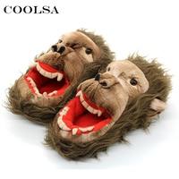 Coolsa New Winter Men Cartoon Slippers Cute Funny Animal Monkey Plush Zombie Slippers Flat Indoor Flip