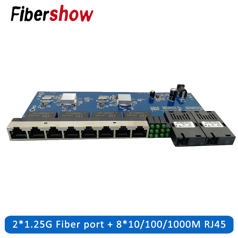 Gigabit Ethernet Switch Fiber Optical Media Converter PCBA 8 RJ45 UTP And 2 SC Fiber Port 10/100/1000M  Board PCB