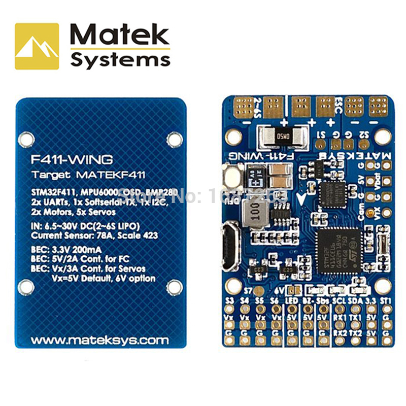 Matek Systems F411-WING STM32F411 Flight Controller Control With INAV OSD MPU6000 BMP280 Support Fly Wing Fixed Wing RC Airplane