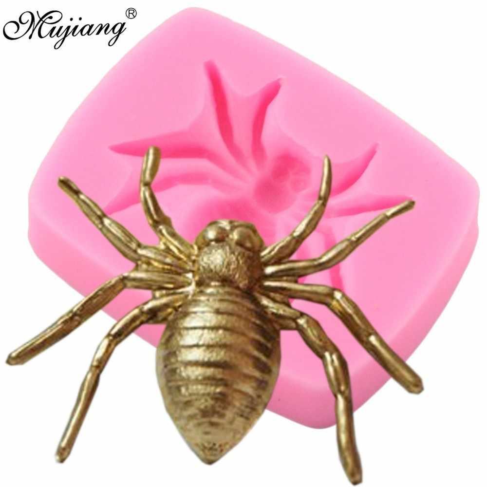 3D Spider แม่พิมพ์ซิลิโคน DIY ฮาโลวีน Party เค้กตกแต่งเครื่องมือ Cupcake Fondant ช็อกโกแลตลูกอมแม่พิมพ์เครื่องประดับเรซิ่นดินเหนียวแม่พิมพ์