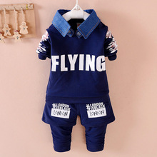 0-5 Age Spring Autumn 2016 New Brand Fashion Letter 2pcs Coat + Pants 3 Colors Sports Suit For Boys And Girls Kids Cloths
