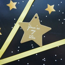 multi-use 50pcs gold star design thank you Scrapbooking decoration tags as wedding gift label DIY use