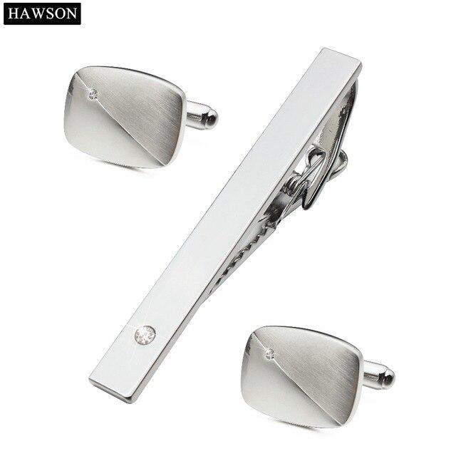 ab7ceadf3e67 Marca hawson rodio plateado con el cristal de encargo gemelos y corbata bar  set mejor regalo