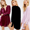 Velvet Shirt Dress 2017 Women Long Sleeve Asymmetrical T-Shirt Dresses Robe Velours Sexy Deep V-Neck Mini Vestidos Mujer