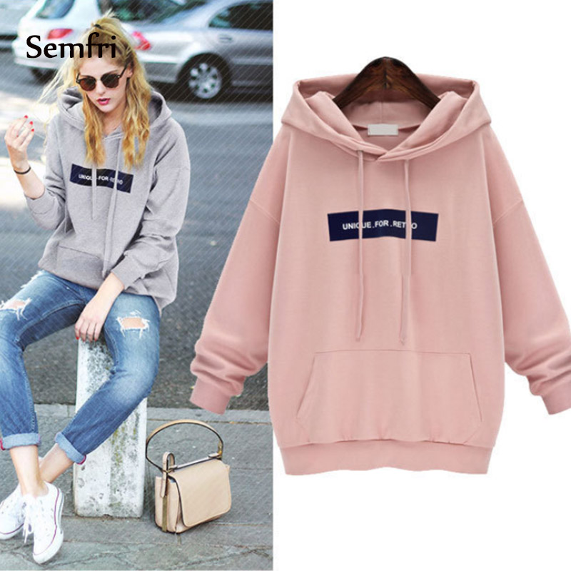 Semfri Fashion Female Pink & Gray Hoodie Sweatshirt 2019 Women Spring Autumn Drawstring Tracksuit Thicken Hooded Harajuku Price $15.33