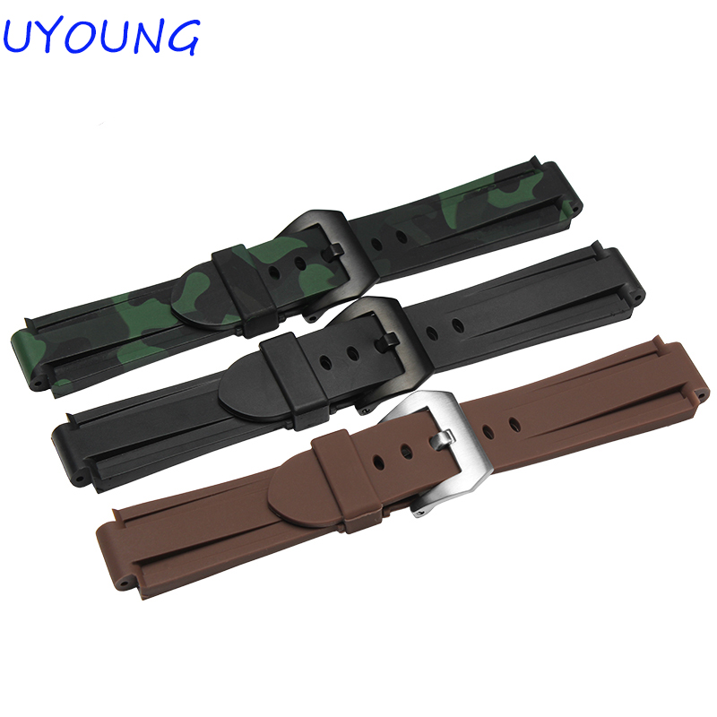 High quality silicone watch strap casual style 24*16mm camouflage accessories for Timex rubber watchband
