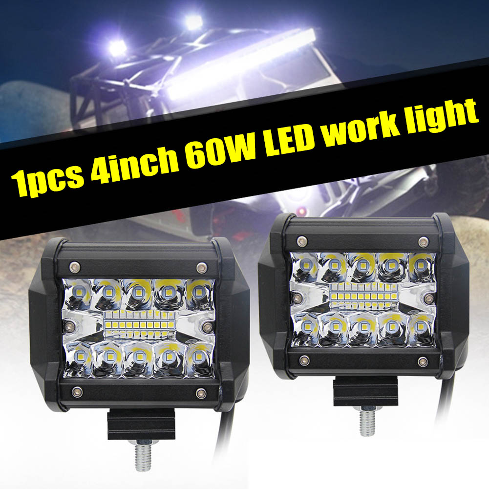 <font><b>4</b></font> Inch 60W <font><b>LED</b></font> Work Light <font><b>Bar</b></font> for <font><b>Offroad</b></font> Boat Car Tractor Truck 4x4 SUV ATV NJ88 image