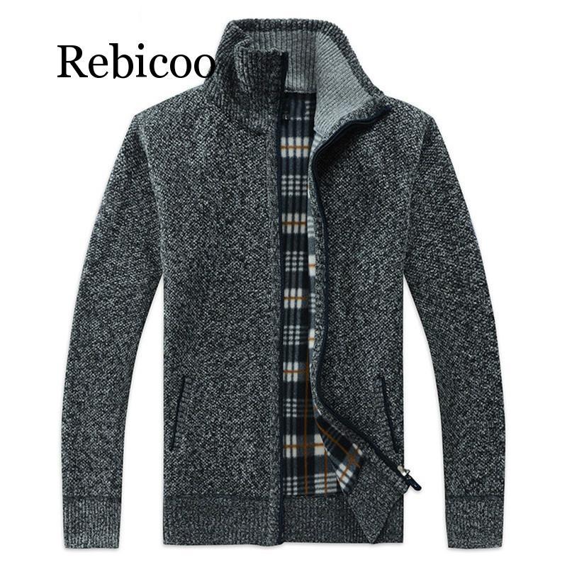 2019 Autumn Winter Men's SweaterCoat Faux Fur Wool Sweater Jackets Men Zipper Knitted Thick Coat Casual Knitwear