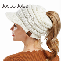 Jocoo Jolee CC Hat Women Crochet Knit Cap Winter   Skullies     Beanies   Warm Caps Female Knitted Stylish Hats For Ladies Fashion