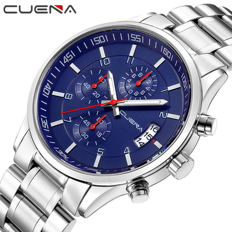 CUENA Quartz Wristwatches Fashion Mens Watches Top Brand Luxury Stainless Steel Waterproof Masculino Male Clock Relojes Relogio men fashion quartz watch mans full steel sports watches top brand luxury cuena relogio masculino wristwatches 6801g clock