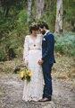 Vestido de noiva 2017 Estilo Bohemian Vestidos De Casamento A Linha V Neck com Manga Longa