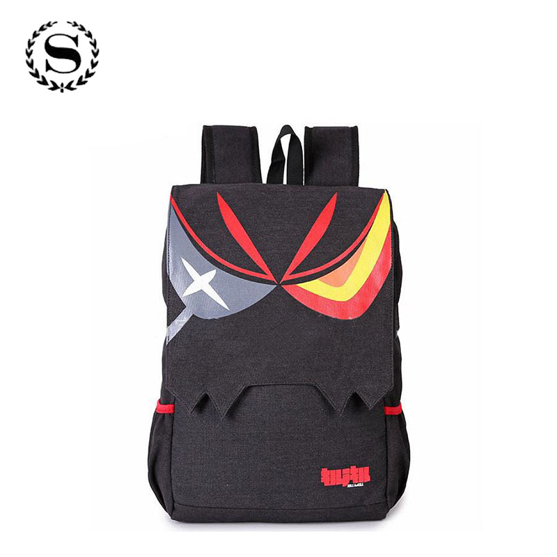 Cartoon Manga KILL la KILL Anime Matoi Ryuuko Backpacks Black Large Capacity Men And Women Ourdoor Casual Travel Backpack 561t hot sale kill la kill matoi ryuko cosplay wig dark blue mix red short japan anime hair for matoi ryuuko cos wig free shipping