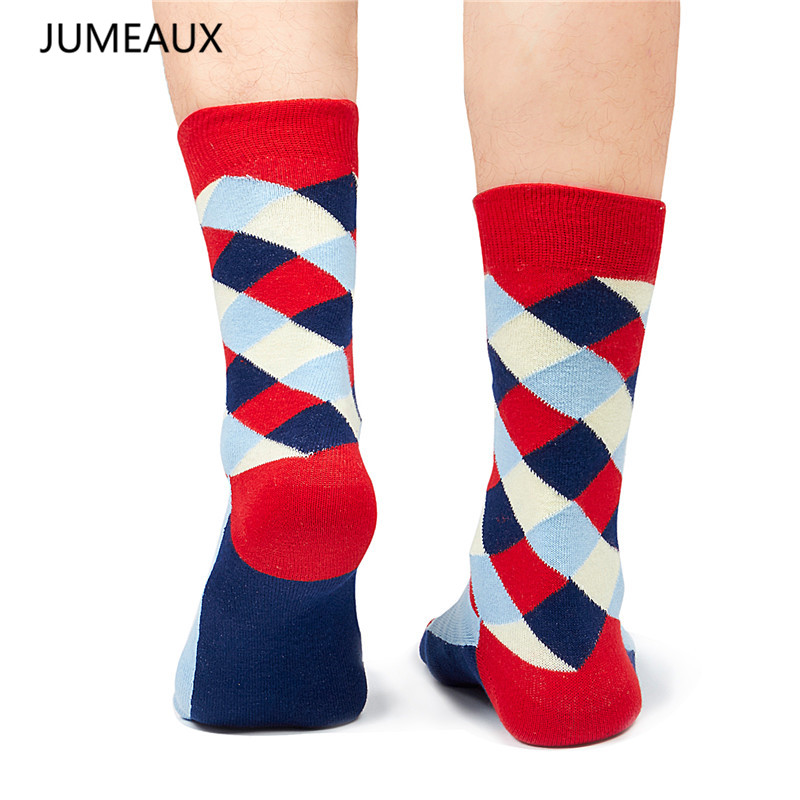JUMEAUX Newly Colorful Cotton Men Socks Dress Cotton Brand Happy Socks for Male Hot Sale 2017