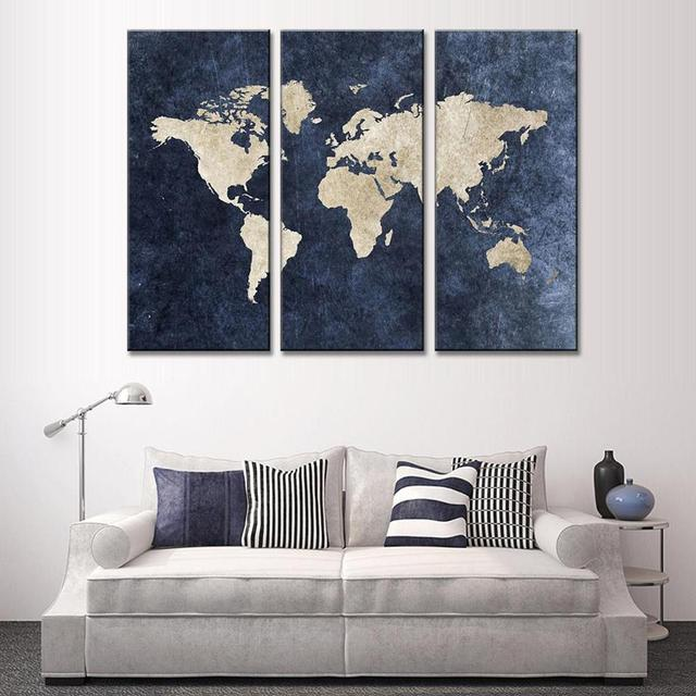 Nuovo 3 pz Astratta Navy Blu Mappa Del Mondo della Tela di