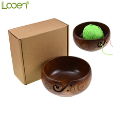 Looen Wooden Yarn Bowl Holder Knitting With Box Holes Storage Crochet Perfect For Sewing Supplies
