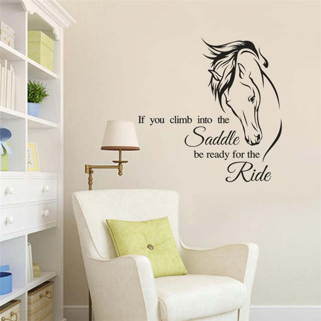 US $1 59 36% OFF|Horse Drawing Wall Sticker Letter If You Climb Into The  Saddle Quote Removable Decal Living Room/Stair Case Wall Sticker Poster-in