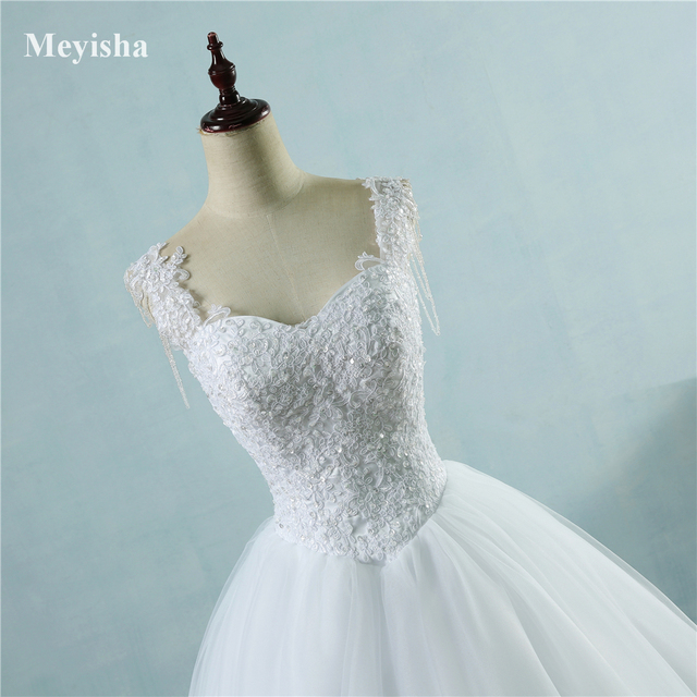 ZJ9082 Ivory White Princess Ball Pretty Lace Pearls Beads Sleeve Two Shoulder 2019 2020 Dresses Wedding Bride Gown Size 2-26W 6