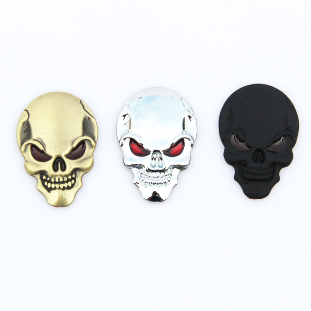 3D Metal Skull Sticker