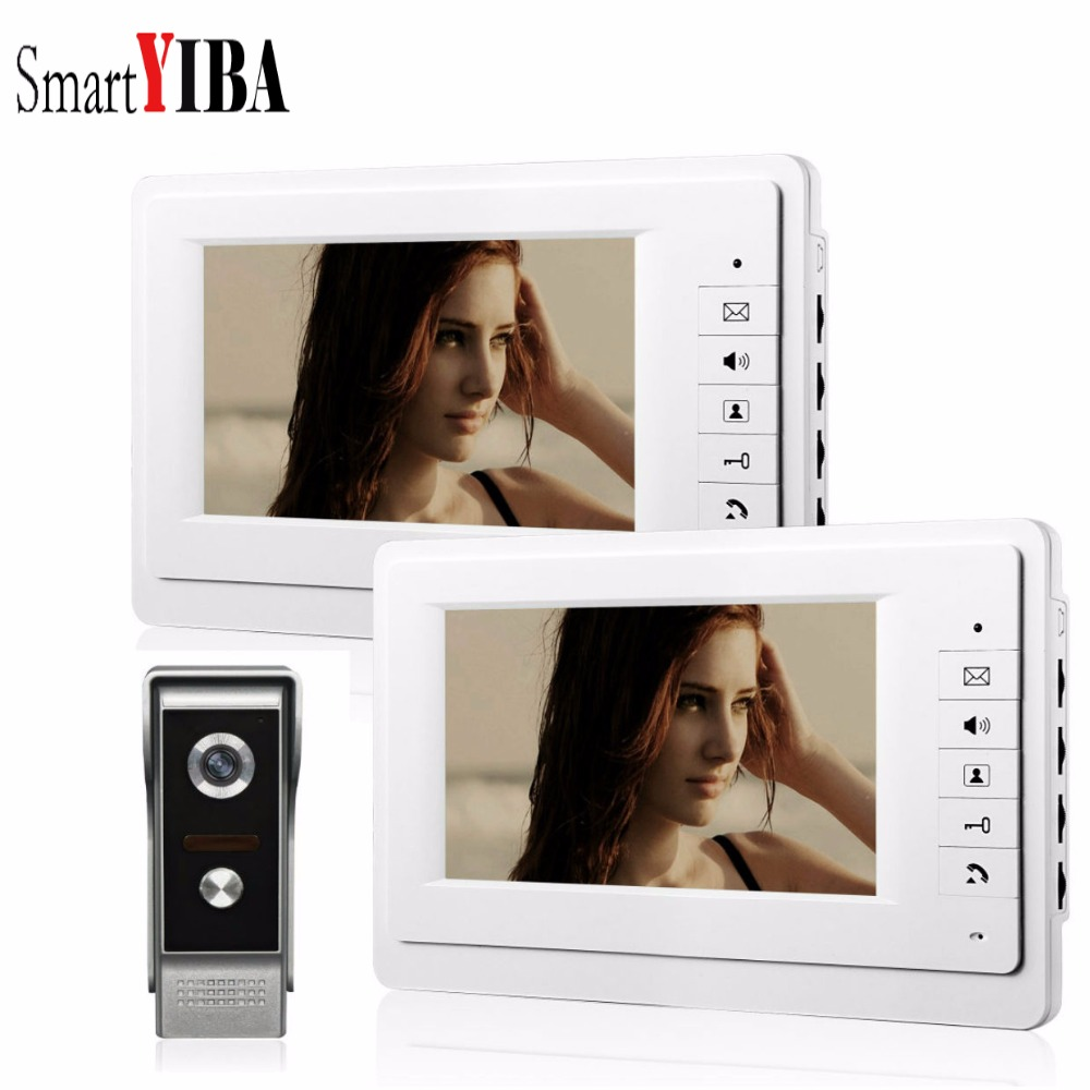 SmartYIBA 7 Inch Video Doorbell Wired Intercoms For Private Home Night Vision Camera IR LCD TFT Color Screen Video Door Phone