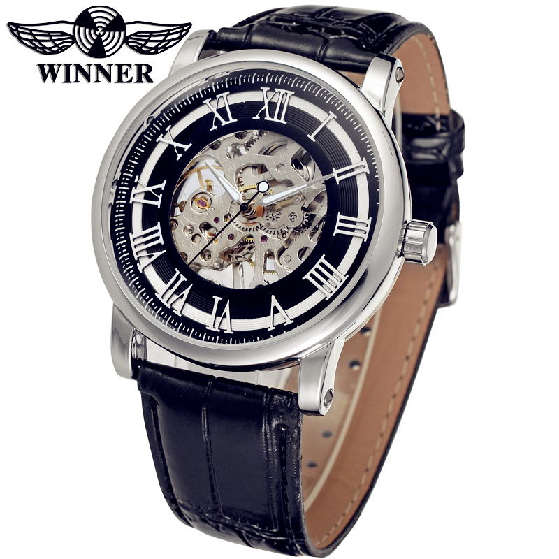 цены  WINNER Men Luxury Brand Roman Number Skeleton Leather Band Casual Watch Automatic Mechanical Wristwatch Gift Box Relogio Releges