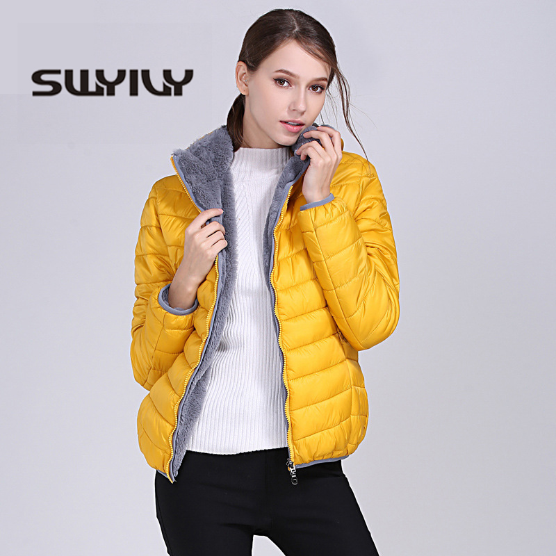SWYIVY Winter Jacket Women Hooded Casual Short Design 2018 New Female Velvet Fur Warm Slim Coats Woman Parkas XXXL Hot Selling