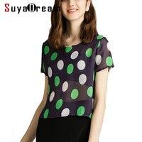Women Dots T Shirt 100% REAL SILK Crepe Printed Short Sleeved Shirt 2019 Summer T shirt for Women New