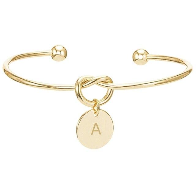 9062eb5488398 US $0.72 18% OFF|Charm Engrave Letter Adjustable Bracelet For Women Jewelry  Rose Gold Metal Bracelet for Women Friend Pulsera Hombre-in Charm ...