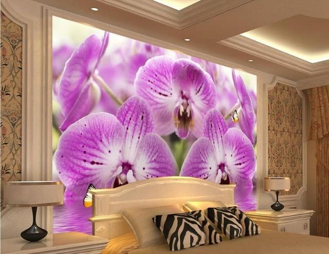 13 75 49 De Réduction 2016 Romantique Violet Papillon Orchidée Eau Fleur Mode Photo Peintures Murales Papier Peint Décoration De La Maison Dans